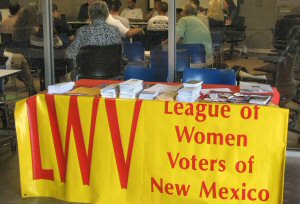 photo of League of Women Voters information table